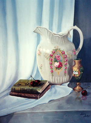 Pitcher with Books and Cherries